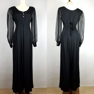 Vintage 80s Jumpsuit Black Culottes Sheer Sleeves